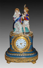European Royal Noble Figurine Ceramic Table Clock, Gold Plated Cast Brass Mounted Table Clock
