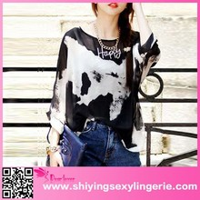New long sleeve hot sale casual summer fashion chiffon lady top designer
