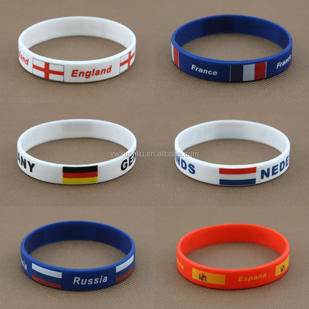 New fashion sports bracelet US France UK Germany flag silicon bracelet