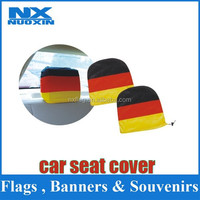 comfortable heat transfer printing spandex &polyester wholesale car seat headrest cover /promotion car headrest flag