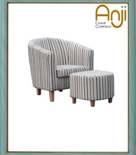 Wooden Frame Stripe Fabric Tub Chair For Living Room And Hotel