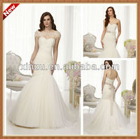 Glamour Layers of Crisscrossed Ruched Bodice Tulle Bridal Dress With Jacket Trumpet Wedding Gown