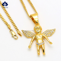 2016 Stylish 18k Gold Plating Popular Hip Hop Style Angel Pendant CZ Stone Chain Unisex Necklace
