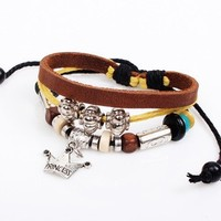 Hot Selling Crown Charm Jewelry Princess Pulseras Occident Style Wax Rope Bracelet Gift NL028
