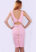 Special Knotting&Zip Decoration Pink Sexy Fashion Bodycon Dress