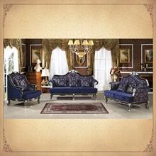 Amazing Original Rococo Style 3 Pieces Salon Set Dark Blue Upholstered Antique Chinese Furniture