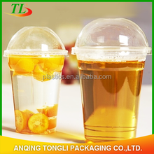 Disposable clear plastic PET/PP cup with lid for beverage
