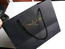 gold foil stamp black texture paper luxury paper bag