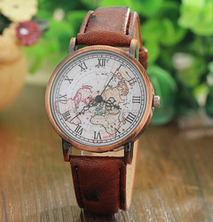 Vintage World MapAntique Map Watch, Vintage World Map, Ladies Watch, Unisex Watch, Cartography, Black Leather Watch,Map Watch,