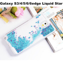 Dynamic Liquid Glitter Quicksand Star Case Transparent Clear Hard PC phone Back Cover For Samsung Galaxy S3 S4 S5 S6 S6Edge