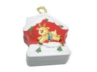 2015 unique design Christmas Decoration metal tin box Christmas house shape tin can Christmas gift tin box