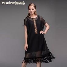 Outline 2015 latest design ladies' midi dress Net yarn dress hollow out black dress