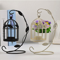 New design metal leaves retro bird cage candle holder