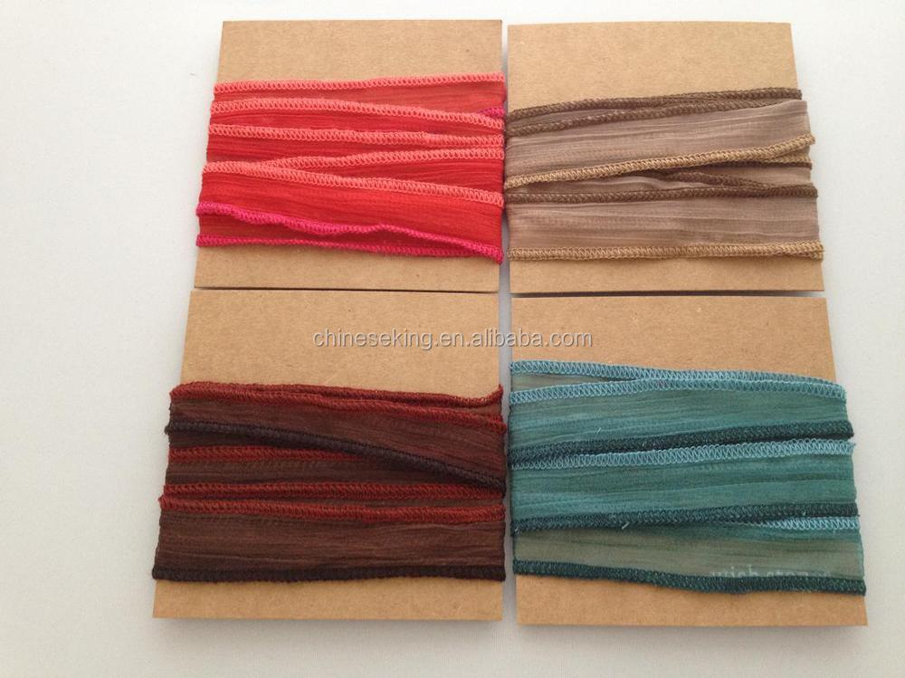 Yiwu Factory Custom Logo Stamped Metal Charm Silk Wrap Bracelet Antique Bronze Tag Ribbon