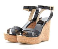 JUSITY best selling black ankle strap ladies high heel wedge sandals Korea