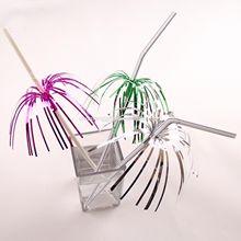 decorativo con encanto de cóctel de paja para beber con papel de aluminio de palma