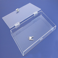 clear large cheap acrylic boxes with lock/acrylic box with hanging lid