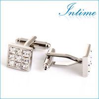 Elegant Transparent rhinstone cuff links silver Wedding Cufflinks