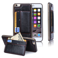 Newest Luxury high quality Slim Leather + TPU cover for iPhone 6s case with Credit Card,phone covers For iphone 6s case