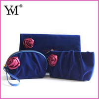 2015 Cheap Luxury yumei promotional hot sell lovely skincare velvet custom cosmetic makeup pouch wholesale for lady
