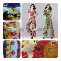 wool chiffon fabric printing for lady dress fabric