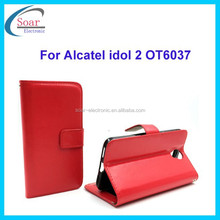 Crazy horse wallet style leather case cover for Alcatel idol 2 OT6037,flip genuine leather case with photo album