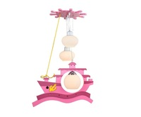 Hot sale Wooden kids simple pink piratical vessel ship toy design pendant lamp