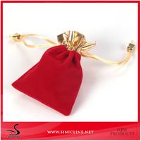 Custom Red Money Packet Drawstring Velvet Bag for jewelry