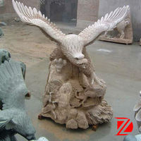 Outdoor eagle stone sculpture