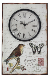 vintage style bird and butterfly design plank antiques wooden wall clock