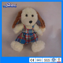 animal shaped plush dog with dropping long ear and colorful lattice dress for festival gift