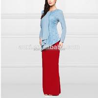 Alibaba china supplier wholesale Singapore Muslim women lace beaded pictures 2014 design baju kurung dress