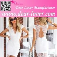 Adult Hot White V Neck Trim Lace Frocks Sexy Photos Women Mini Dress