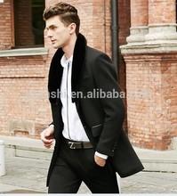 wholesale high quality fur callor custom black wool varsity jacket