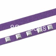 """Velvet Jewelry Cord Rope Silver Tone Patch Purple 6.7mm x2mm( 2/8"""" x 1/8""""), 5 PCs(Approx 1M/PC)"""