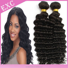 "Factory price!Natural colour #1B 14""16""18""20"" deep wave 100% virgin brazilian human hair weaving hair extension"