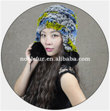 2015 genius lady rabbit fur winter beanie hat with two fur ball around ears