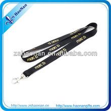OEM promotional gift bulk black lanyard with gold logo no minimum order