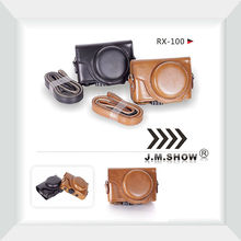 PU Leather Camera Case for Sony RX100 with Shoulder-strap