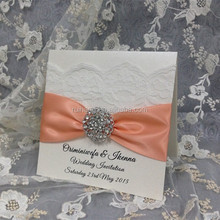 directly manufacturer popular wedding invitations card with silk ribbon & brooch