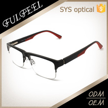 High quality half frame silicon legs optical glasses with spring hinge