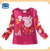 (F4345) fuchsia 18m-6y nova kids wholesale peppa pig t shirt autumn 2014 girls tops