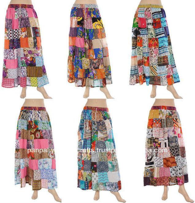 femmes indiennes patchwork jupe longue gypsy hippie coton jupes avec patch travail designer. Black Bedroom Furniture Sets. Home Design Ideas