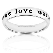 Cheap Wholesale Christian Men Stainless Steel True Love Waits Engraved Ring