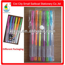Hot sale pvc bag packinge new style fluorescent gel ink pen