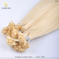 most charming Italian glue virgin cheap wholesale double drawn virgin U-tip Indian remy hair extension