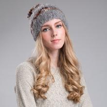 Fuzzy fibras acrílicas de punto sombrero de invierno