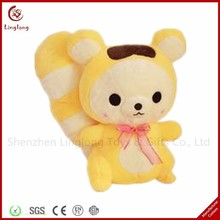Lovely gift for girl plush squirrel with bow tie cute stuffed cartoon doll soft animal toy