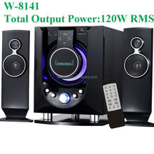 powerful subwoofer speaker foe home use 2.1ch speaker with USB/SD/FM/2MIC/Remote Control/VFD Display