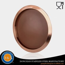 Anti slip Round large copper serving tray